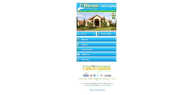 screenshot: Heron's mobile website