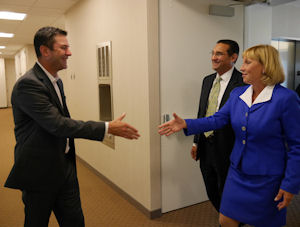 Marathon Data Systems CEO Chris Sullens welcomes New Jersey Acting Governor Kim Guadagno to celebrate the grand opening of Marathon Data's new offices.