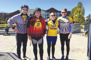 From left, Court Parker, his father, Neil, his sister Daphne Bertholf and brother in-law Ken Bertholf participated in the Camp Twin Lakes Spin For Kids bike ride in October. The company raised $511,000 for children with serious illnesses, disabilities and other life challenges. Photo: Court Parker