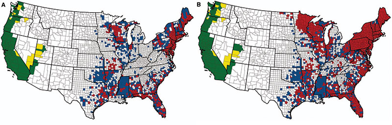 Ticks Expand Their Us Distribution - Map-of-ticks-in-us