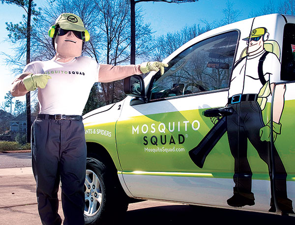 "Dread Skeeter is a vital part of Richmond, Va.-based franchisor Mosquito Squad's branding. His life mission is to eliminate mosquitoes and ticks, to help customers ""take back"" their back yards. Not only does he make appearances at public events around the country, he'll even show up at treatments on occasion.Photo: Mosquito Squad"