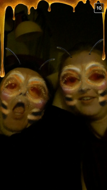 Two otherwise-respectable members of the editor's family turn into stinging insects, courtesy of a Snapchat filter.