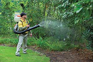 Experts suggest using a backpack blower when applying mosquito control products.