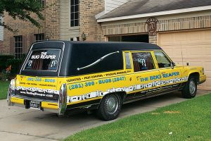 The Bug Reaper knows how to strike fear in the heart of pests: by rolling up to the job in a hearse. Photo: The Bug Reaper