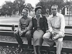 "Dick Sameth (far right) poses on the ""Freshman Fence"" with his parents in 1955, the year he entered Dartmouth College. Photo: Dick Sameth"