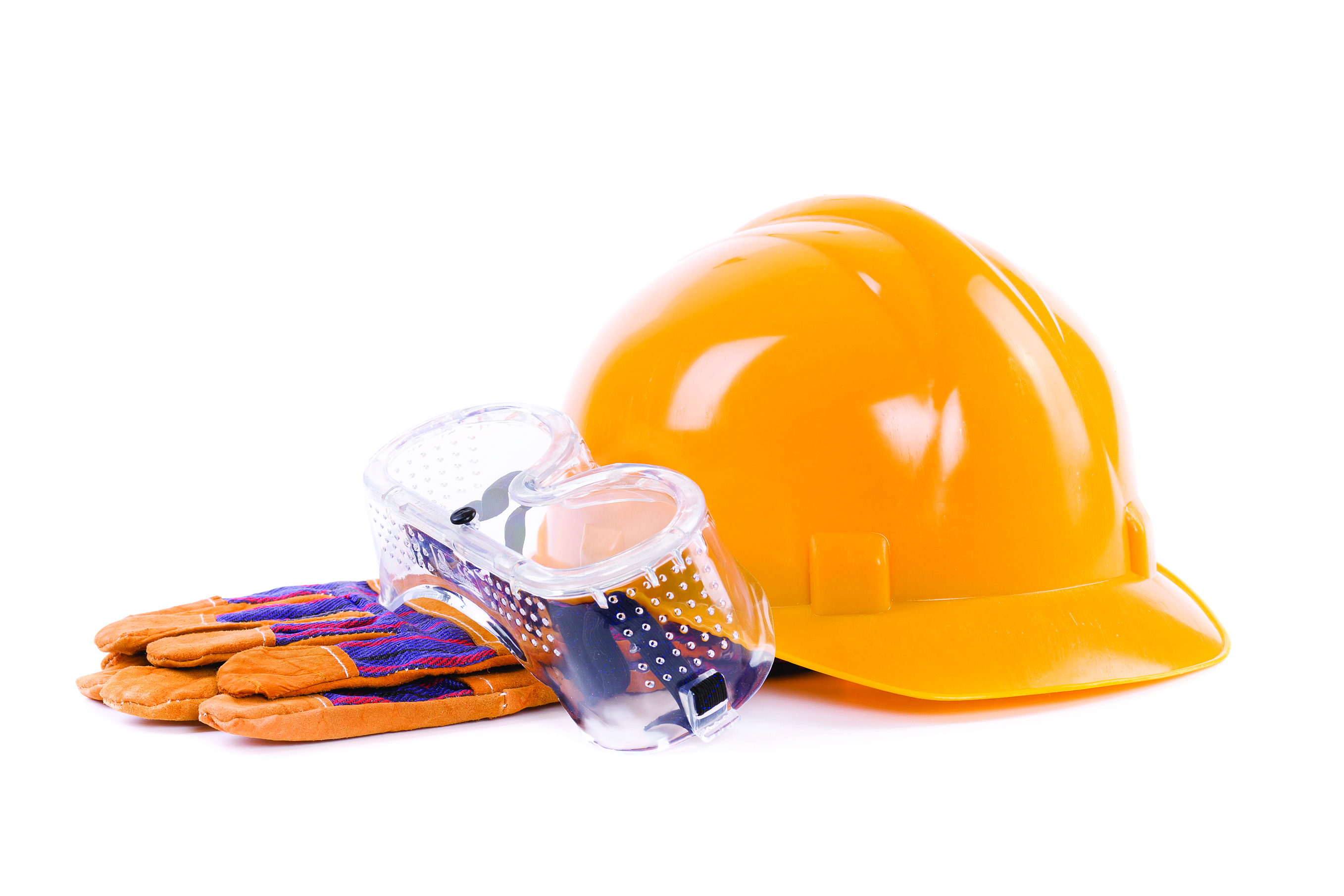 construction hard hat with glowes and goggles