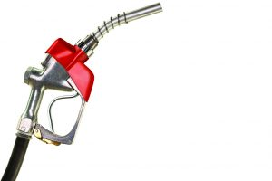 Red Gasoline Pump Nozzle on White Background