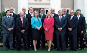 Arrow's executive team includes Runion (in blue) and President and CEO Emily Thomas Kendrick. Photo: Shay Runion