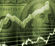 Stock line over dollar bill. Illustration: ©iStock.com/AUDINDesign