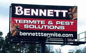 A crisp look and simple message comprise Bennett's approach to billboard advertising.  Photo: Bennett Termite & Pest Control