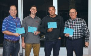 From left, Andrej Branc, PelGar USA; PMP's own Ryan Gerard; James White, Advantage Green Lawn & Pest Solutions; and Lonnie Alonso, Columbus Pest Control, show off the pro shop certificates they received for winning the golf tournament. Photo: Joelle Harms