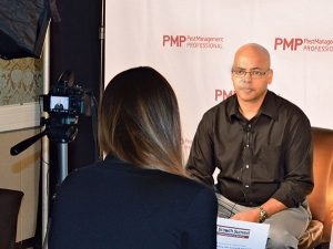 Jason Payne, Payne Pest Management, is interviewed by PMP Digital Editor Joelle Harms. Photo: Marty Whitford