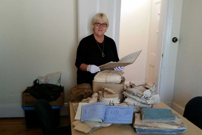 Morgan Council Heritage Officer Di Hausler is archiving the 138-year-old documents.Photo: Di Hausler / ABC Riverland