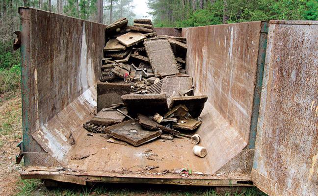 Dumpster of debris