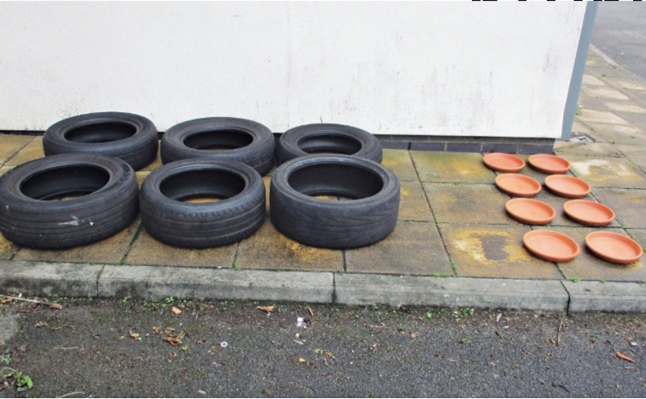 MGK study tires and flowerpots