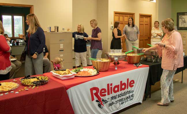 Buffet at Reliable Pest Solutions anniversary celebration