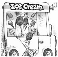 Ice cream truck illustration by Leo Michael