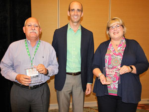 Outgoing RISE Governing Board members were recognized during the association's annual meeting Sept. 23-26, 2018, in Amelia Island, Fla. From left are Dan Stahl who served as Governing Board chair from 2014-16, OHP Inc.; Aaron Hobbs, RISE president; and Stephanie Jensen, outgoing Board member, BASF Corp. PHOTO: RISE