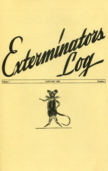 inaugural issue of Exterminators Log 1933 cover