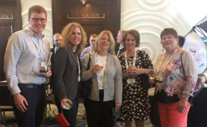 Pictured from left at the Welcome Reception are Kevin Finnegan, FMC Corporation; Jill Holihan, FMC Corporation; Ona Maune, Bayer; Carrie Tackema, Nufarm Americas, Inc.; and Julie Schlekau, Valent. PHOTO: RISE