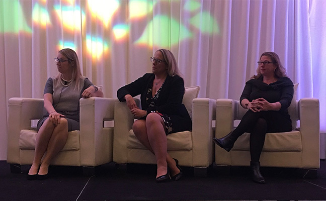 Keynote panelists at the 2019 CropLife America and RISE Regulatory Conference included, from left, Amy O'Shea, FMC Corp.; Karen Larson, Clarke Mosquito; and Danesha Seth Carley, North Carolina State University Center of Excellence for Regulatory Science in Agriculture. PHOTO: RISE
