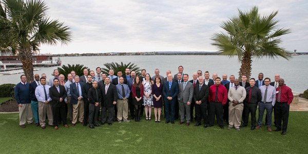 Versacor employees gather at the company's 2019 IMPACT meeting at Horseshoe Bay Resort to mark its 10th year in business. PHOTO: VERSACOR
