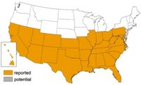 Triatomine Bug Occurrence by State. CHART: CDC