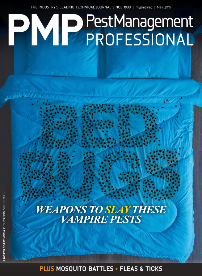 For illustrative purposes, bed bugs are not to scale. Obviously. PMP's May 2019 Cover. ART: ISTOCK.COMWILDPIXEL, ARTEM PERETIAKO
