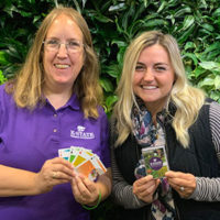 From left are Frannie Miller and Brooke Garcia, co-authors of the K-State IPM card deck. PHOTO COURTESY OF FRANNIE MILLER