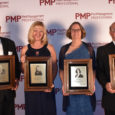 Dave Mueller, Dr. Dini Miller, Judy Black and Lonnie Alonso received plaques at the PMP Hall of Fame induction ceremony on Oct. 14, 2019. (PHOTO: DANIELLE PESTA)