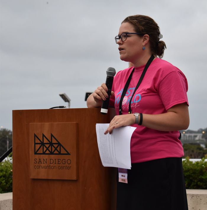 Allie Allen, BCE, is the NPMA staff liaison for the PWIPM group. She welcomed guests and kicked off the breakfast. PHOTO: DANIELLE PESTA