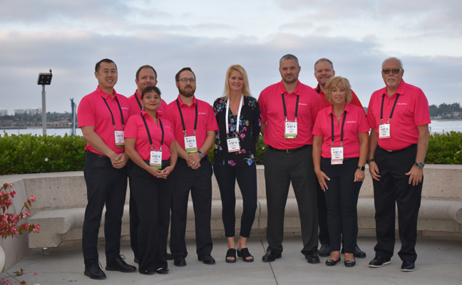 The ServicePro team sponsors the PWIPM Networking Breakfast every year at PestWorld and shows extra support by wearing pink. PHOTO: DANIELLE PESTA
