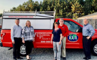 Tim Pollard, Emily Thomas Kendrick and Kevin Burns of Arrow Exterminators stand with Beth and Craig Duncan (center) of Exterminating Unlimited. (PHOTO: ARROW EXTERMINATORS)