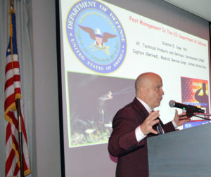 Andy Linares, President of Bug Off Pest Control Center, talks to attendees about honoring warriors in the U.S. armed forces and our first responders during his introduction at the 2019 New York Pest Expo. PHOTO: MARTY WHITFORD