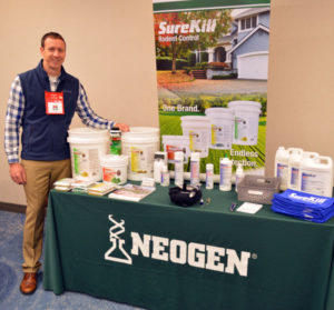 Casey Prewitt, the National Sales Manager with Neogen, talks about some of the latest products in the SureKill line. PHOTO: MARTY WHITFORD