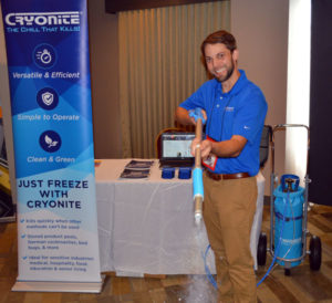 David Cook with Cryonite USA demonstrating the product at the New York Pest Expo. PHOTO: MARTY WHITFORD