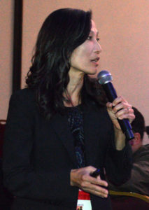 """Dr. Faith Oi, Associate Extension Scientist in Urban Entomology at the University of Florida (and a PMP Editorial Advisory Board member), talks to attendees at the New York Pest Expo during her presentation """"Defending the Homeland Against Invasive Ants."""" PHOTO: MARTY WHITFORD"""