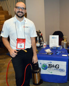 Filipe Ferreira, the Northeast Regional Sales Manager with Pelsis, shows off the B&G sprayer. PHOTO: MARTY WHITFORD