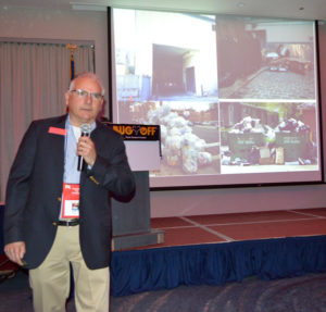 """John Murphy, Liphatech's Technical Support Manager, presenting """"The War on Rats - Winning Hearts and Minds"""" at the 2019 New York Pest Expo. PHOTO: MARTY WHITFORD"""