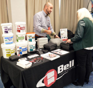 John Phil, Senior Technical Sales Representative with Bell Laboratories, discussing Bell's newest sensing technology. PHOTO: MARTY WHITFORD