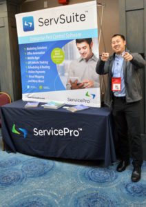 Ka Tsu, Director of Sales with ServicePro, gets ready for some great networking at the New York Pest Expo. PHOTO: MARTY WHITFORD