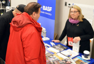 Karen Boniface, Senior Sales Specialist with BASF, discusses Alpine WSG Insecticide. PHOTO: MARTY WHITFORD
