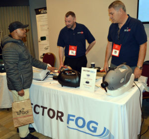 Vectronate's Jonathan McCarthy with Walter Garvey showing off the Vectorfog. PHOTO: MARTY WHITFORD