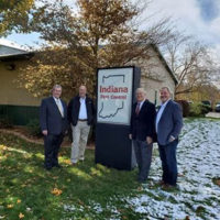 From left are Bill Welsh, VP of sales, Rose Pest Solutions); JR Campbell, owner, Indiana Pest Control; Russ Ives, CEO, Rose Pest Solutions; and Rand Hollon. PHOTO: ROSE PEST SOLUTIONS