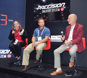 "Control Solutions Inc. (CSI) unveiled its Doxem Precise dry flowable bait for cockroaches, ants, crickets and other pests, and related Precision Delivery System (PDS), at PestWorld 2019. Dr. Janis Reed, CSI's technical services manager for pest control operations; Jeremi Farrar, regional manager for Lafayette, La.-based J&J Exterminating Co.; and Raleigh Jenkins, president of Houston-based ABC Home & Commercial Services, participated in a panel discussion in which they called the combination of CSI innovations a ""game changer,"" especially for eliminating German cockroach populations at troublesome commercial accounts. PHOTO: DIANE SOFRANEC"