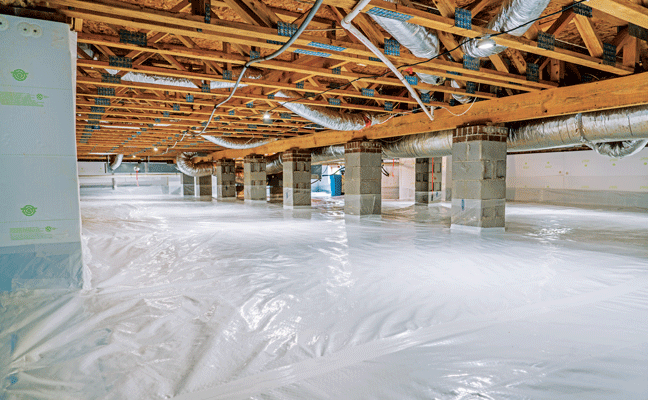 """The """"after"""" with a vapor barrier and borate-impregnated foamboard insulation installed. PHOTO: CRAWLSPACE DEPOT"""