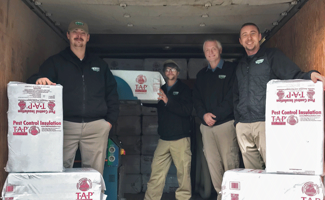 The Knox Pest Control install team includes, from left, Steven Brock, Dylan Craig, Dustin Hester and Michael Ott. PHOTO: KNOX PEST CONTROL