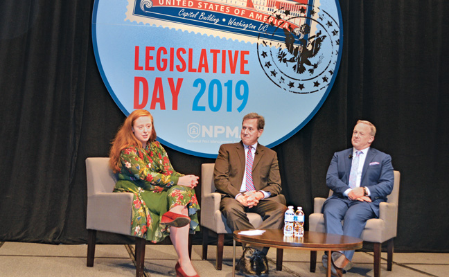 At last year's Legislative Day event, NPMA VP of Public Policy Ashley Amidon moderated a discussion with Rick Santorum, former U.S. Senator (R-Pa.), and Sean Spicer, former White House Press Secretary. PHOTO: DIANE SOFRANEC/PMP