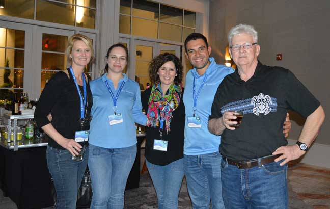 ServicePro's CIO Kim O'Connor (far left) and CEO Dick Deering (far right) are flanked by Maya Apostolova, Sara Miller and Dean Dilevski at ServSuite University's kickoff reception. PHOTO: DIANE SOFRANEC/PMP