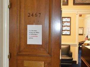 Sign of the times: Many of the U.S. Representatives posted signs on their doors about their no-handshake policy, like this one on Bob Latta's (R-Ohio), due to the Coronavirus. PHOTO: PMP STAFF